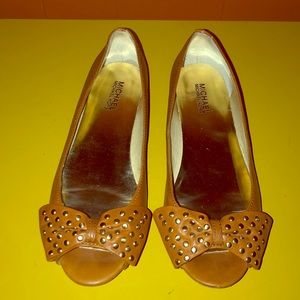 Michael Kors Brown Leather Peep Toe Studded Flats